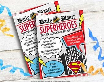 Digital Superhero Photo Invitation Birthday Photo Invitation Etsy
