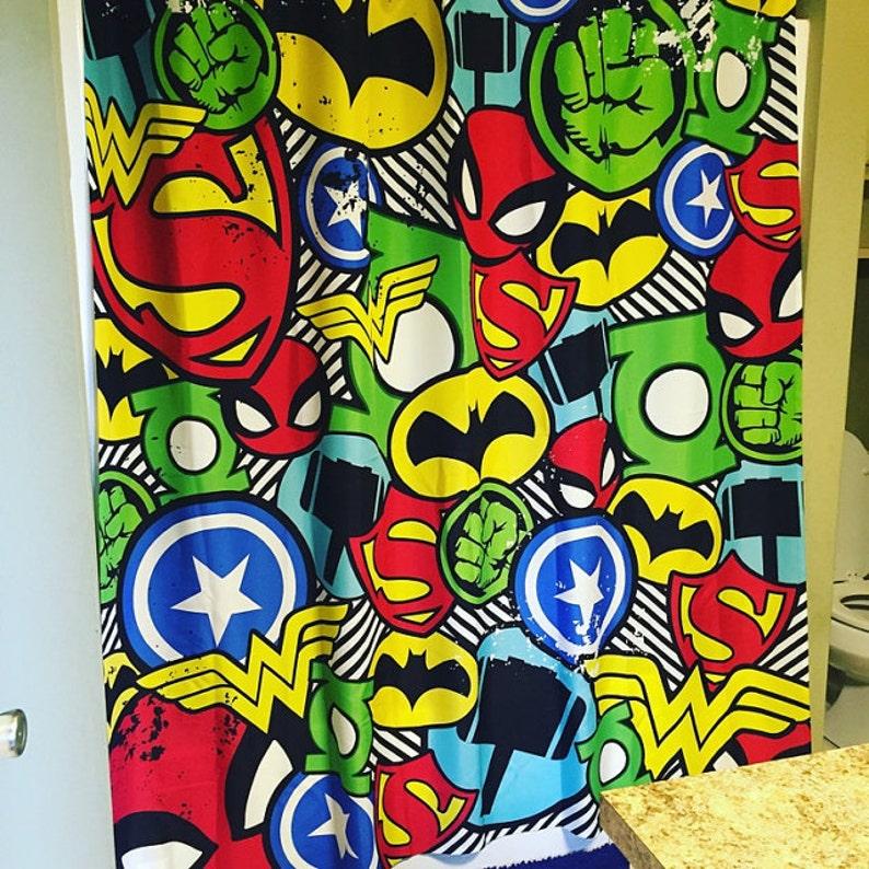 Superhero Shower Curtain Bathroom Decor Comic Book