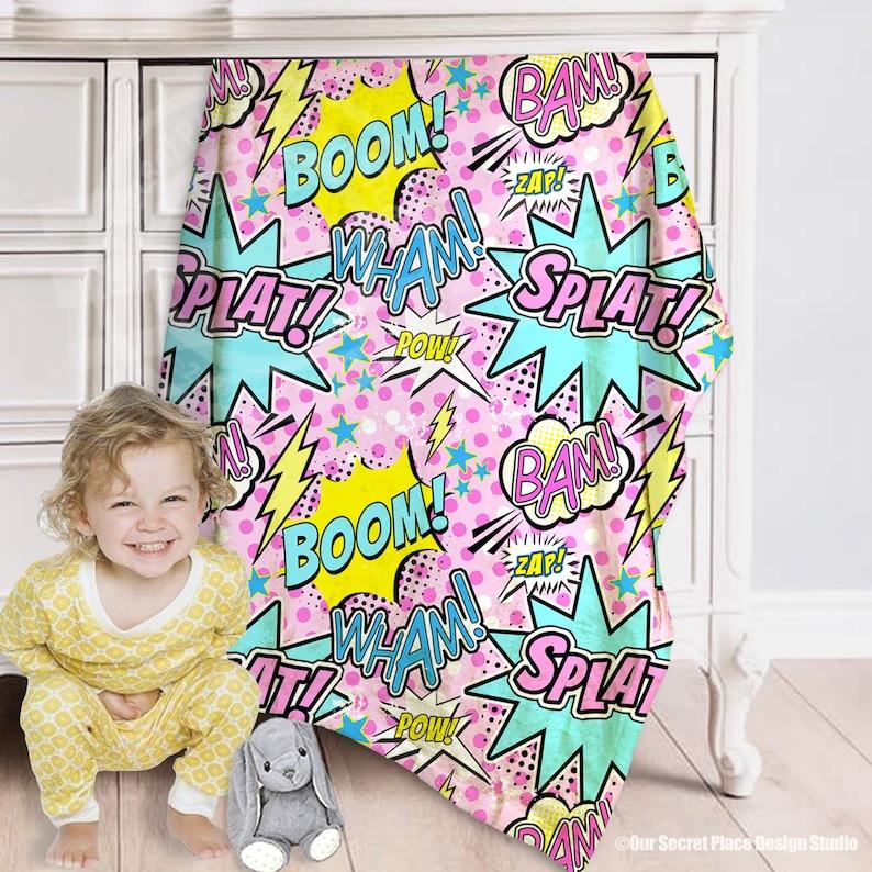 Girls Baby Blanket Girls Crib Bedding Girls Superhero baby shower gift Superhero blanket Nursery bedding girl Newborn blanket personalized