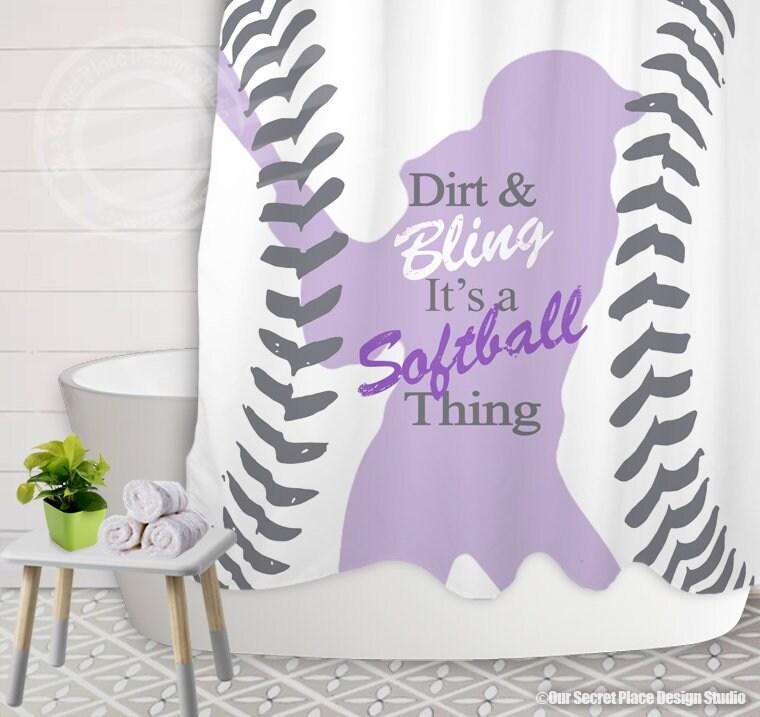 Girls Softball Shower Curtain Bathroom Decor