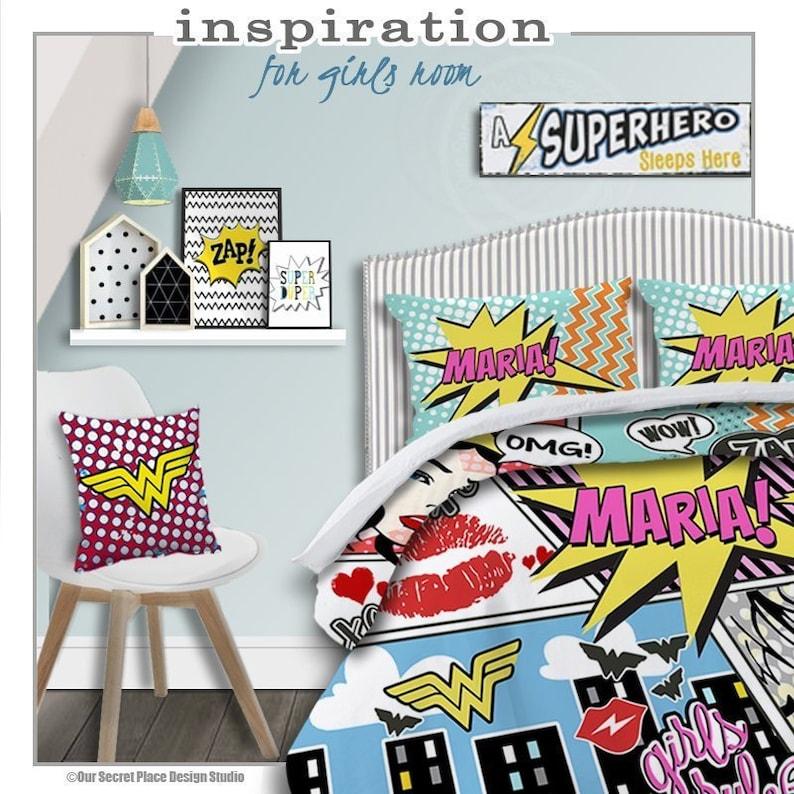 80e102abe9acb Girls Superhero Bedding Comic Book Bedding Superhero Comforter Personalized  Girls Bedding Set Superhero bedroom decor Comic book room decor