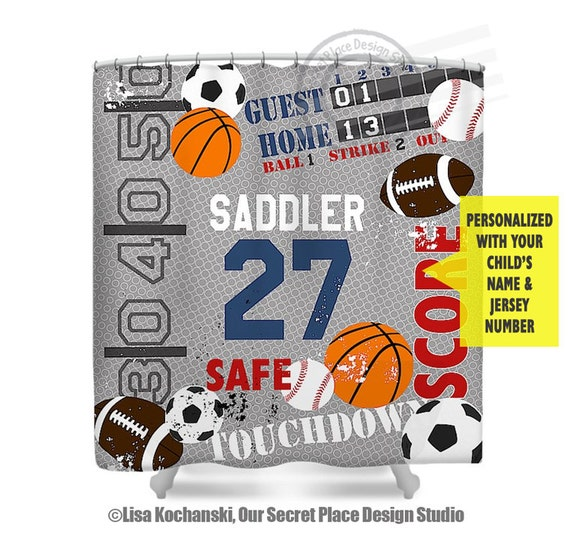 Sports Shower Curtain Boys Bathroom Decor For