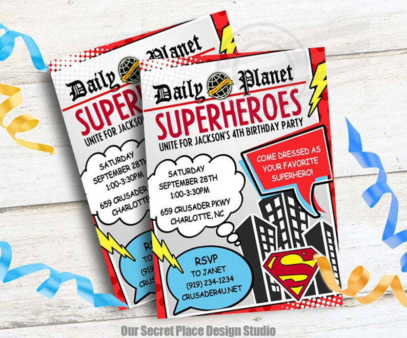 DIGITAL Superhero Birthday Invitation Daily Planet