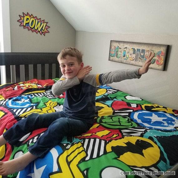 Boys Duvet Cover Superhero Bedding Set, Super Hero Bedding Double