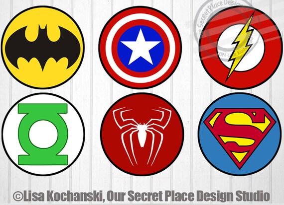 Instant download superhero logo stickers superhero stickers