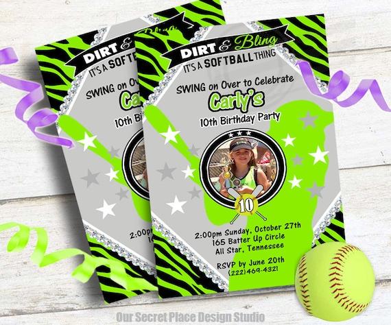 printable softball birthday party invitations for girls etsy
