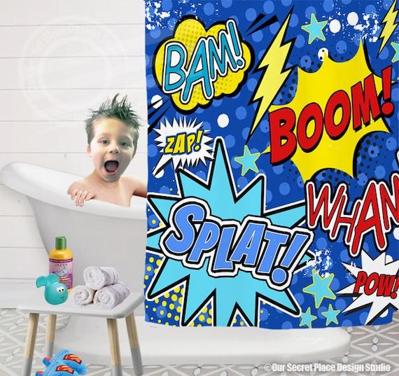 Superman Bathroom Decor: Superhero Shower Curtain Superhero Bathroom Decor Comic