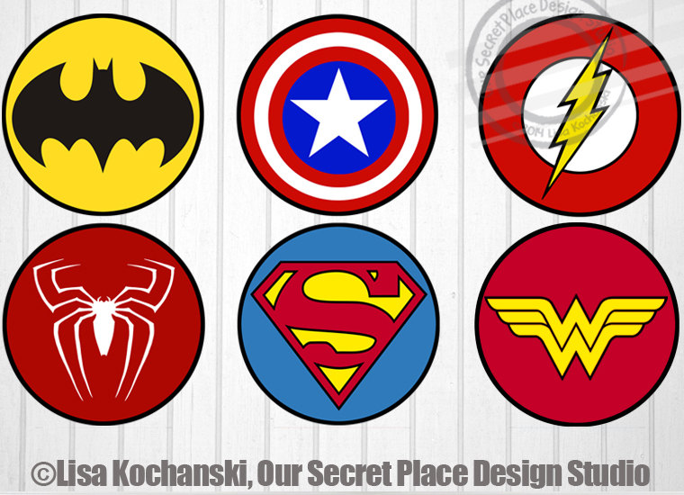 Instant Download Superhero Logos Superhero Symbols Superhero Etsy