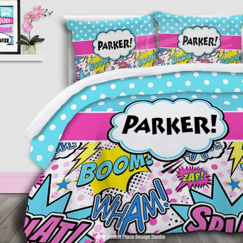 afe2a50915ef5 Personalized Bedding for Girls Comforter Set Comic Book Bedding Girls  Superhero Bedding Queen Toddler BeddingSuper hero Bedding Set Full