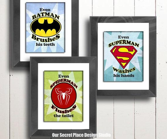 DIGITAL Kids Bathroom Wall Art Superhero Prints