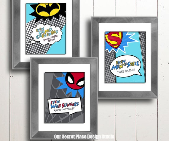 Ordinaire PRINTS Superhero Bathroom Prints Kids Bathroom Prints Kids | Etsy