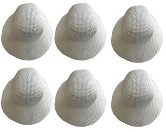 9297b041ada Lot of 6 Darice White Wicker Bonnet Straw Sun Hats 6