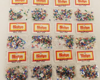 Silver or Multi Craft 5mm Sequins Miniature Stars  Gold