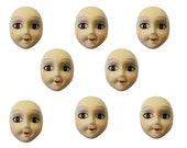 Pack of 8 Painted Poly Porcelain Resin Lady Face Cameo Head Craft Jewelry Brooch Pendant Vintage