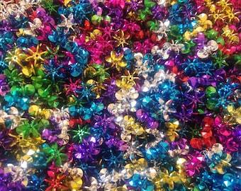 100 Pcs Assorted Metallic 25mm Starflake Sunburst Plastic Acrylic Craft Beads