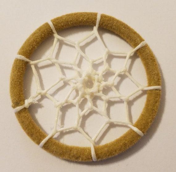 "Lot of 10 Webbed Dream Catcher Miniature Craft Dreamcatcher Rings 2/"" Hoops Beige"
