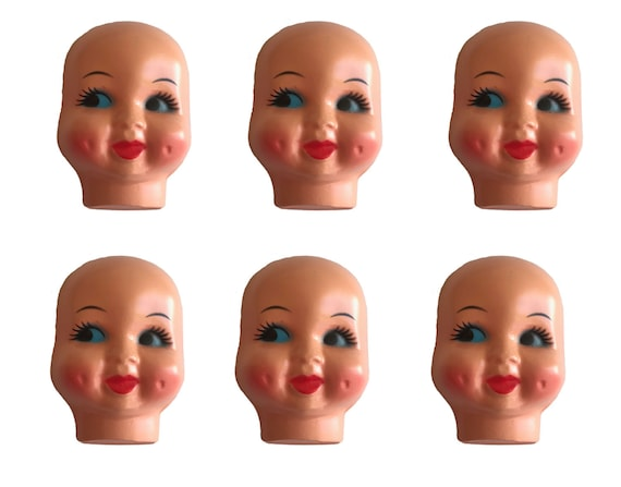 Pack of 6 Blue-Eyed Girl Celluloid Plastic Doll Face Mask