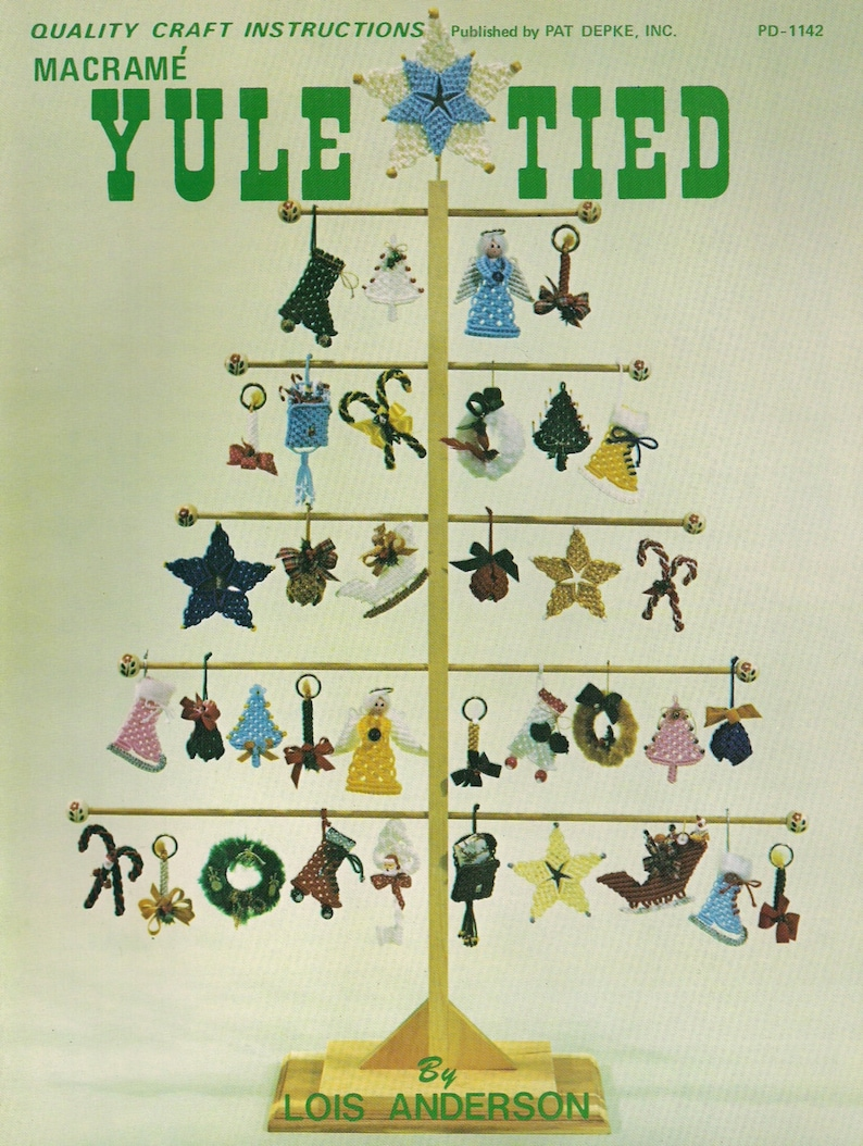 Vintage Yule Tied Macrame Book Patterns for Holiday Crafts and image 0