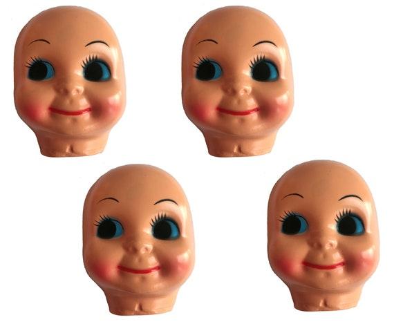 "Lot of 6 VTG 3/"" Dimple Blue Eyed Celluloid Plastic Craft Doll Making Faces Masks"