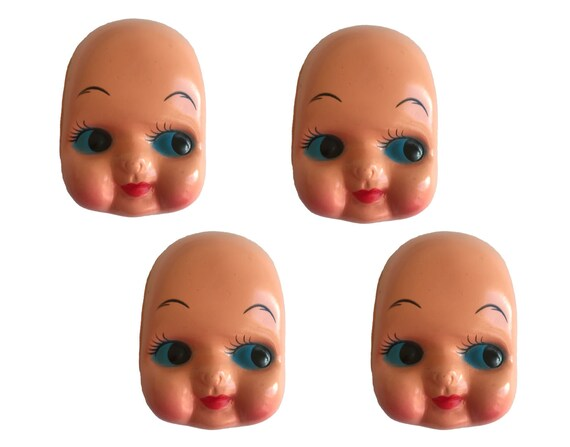 """Lot of 4 Vintage Large 5/"""" Celluloid Plastic Craft Doll Making Faces Masks Heads"""