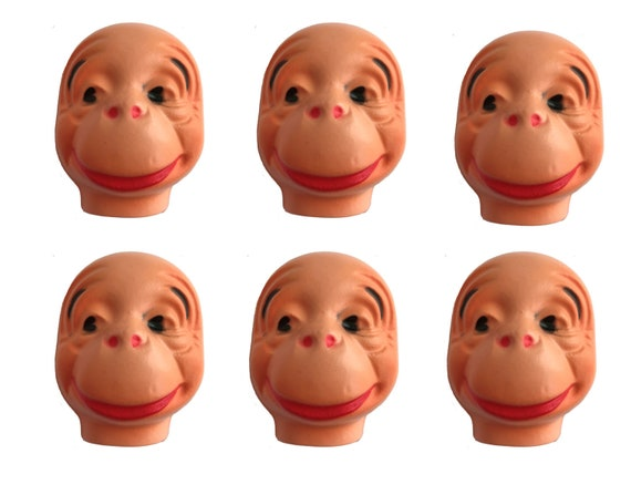 Pack of 6 Vintage Duck Celluloid Plastic Craft Animal Doll Making Faces Masks