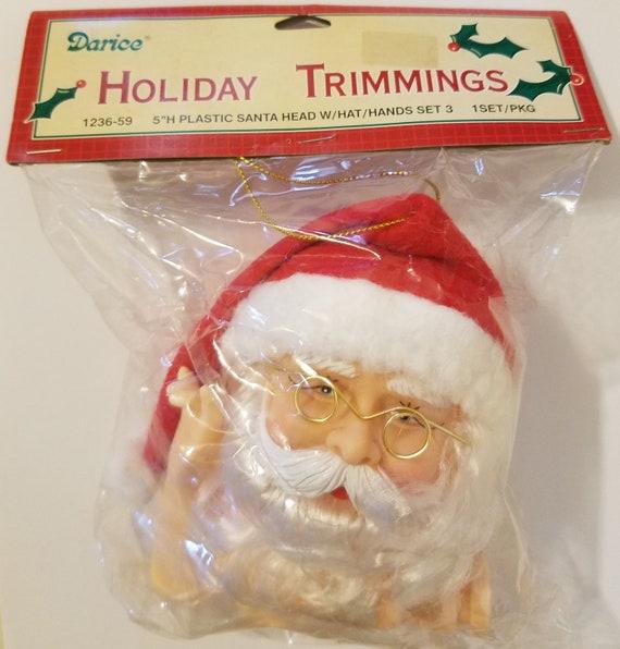 "Vintage Darice Santa Claus Plastic Craft Christmas Doll Head /& Hands Set 5/"""