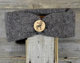 Merino Wool Headband Knit Headband Adult Size Dark Grey  Knit Headband with Moose Button
