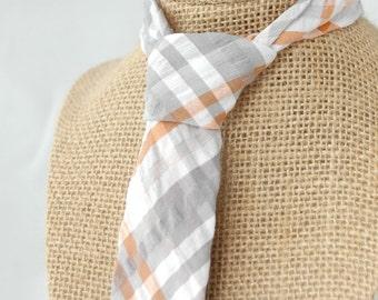Men's Necktie - SUMMER CLEARANCE - Orange, White, and Grey Cotton Seersucker