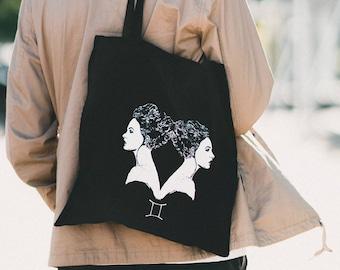 GEMINI Zodiac Tote Silk Screen Printed Designer Illustration Shopping Bag