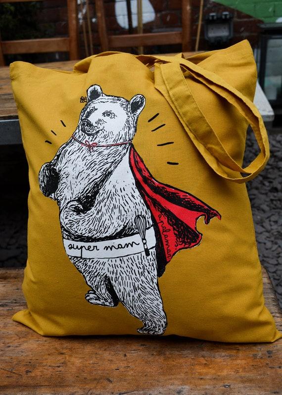 Mama Bear Bag /'Super Mam/' Silk Screen Printed Mustard Tote Bag