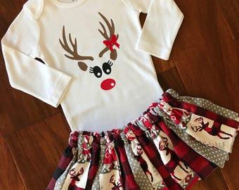 9310ef168295 Baby Girl 1st Christmas Outfit - Deer Onesie - Fair Isle Skirt - My First  Christmas Baby - Buffalo check Plaid baby girl Christmas Outfit