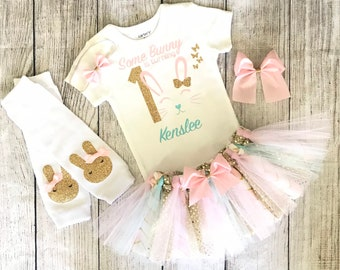 11f5faa51 Some bunny is One Baby Girl Birthday Outfit Gold and pink Easter Birthday  Outfit Somebunny Easter Outfit Personalized Easter Outfit Gift