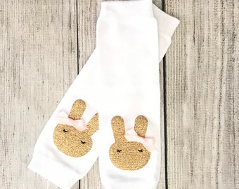 892a638923b Easter Bunny Leg Warmers Gold and pink Easter Birthday Outfit Leg Warmers  blush pink and gold Baby Girl Tutu leg warmers Somebunny is One