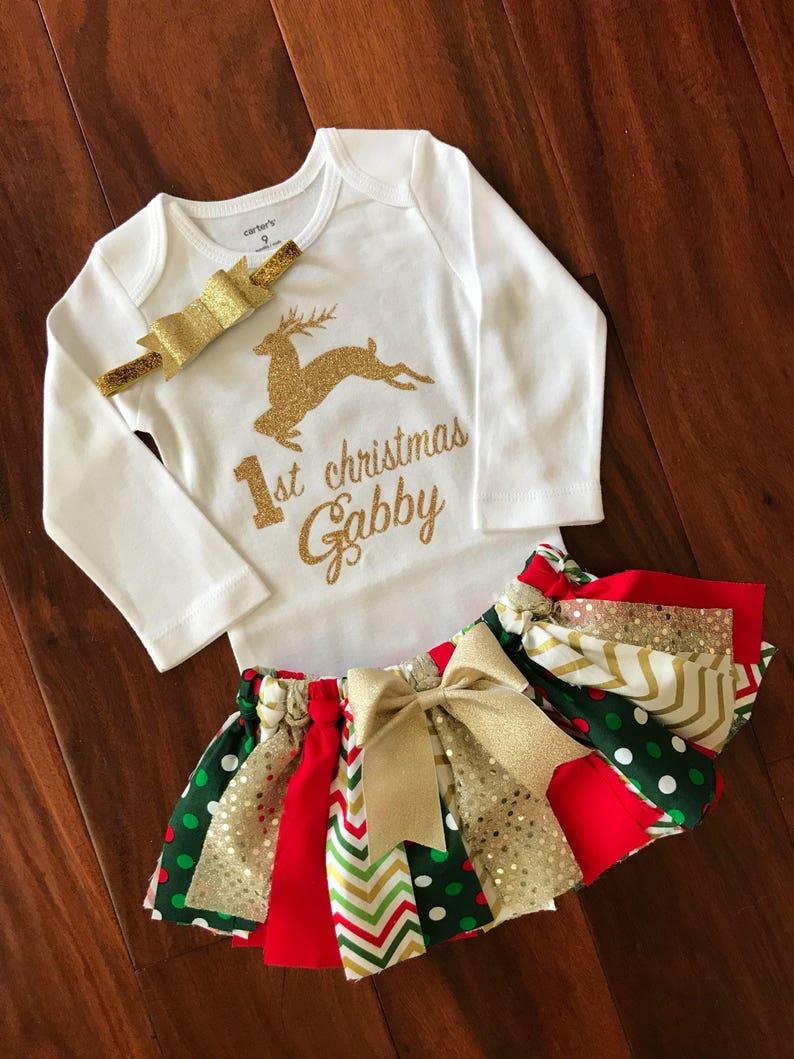 aca204433 1st Christmas Outfit Baby Girl 1st Christmas Deer Onesie | Etsy