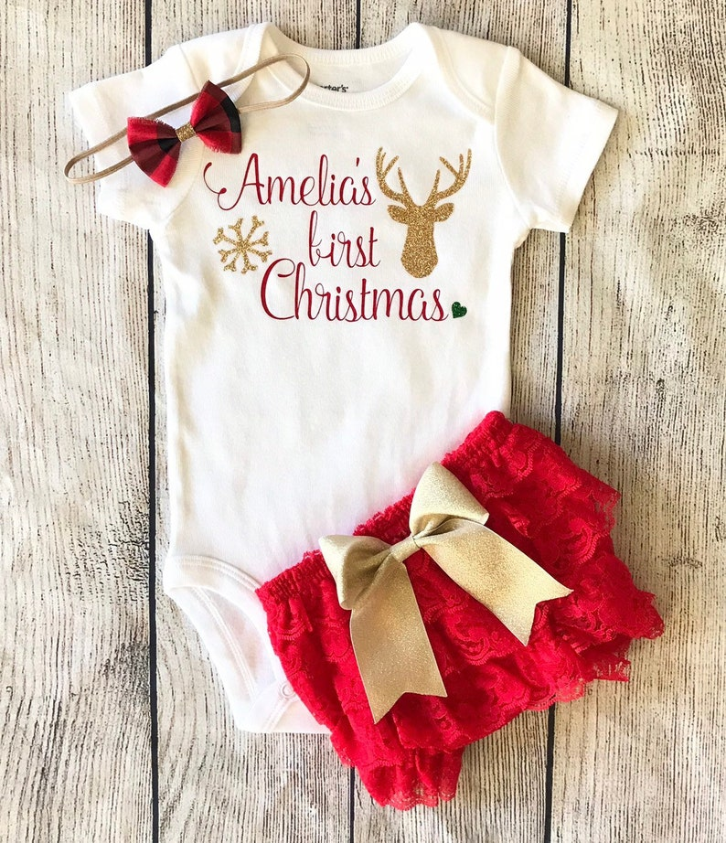 934fcd7bb178 Personalized First Christmas Outfit for baby girl 1st   Etsy