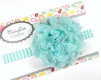 Baby Girl Headband - robins eggs blue Headband - Aqua Headband - Flower girl Headband - Birthday Headband - Robins egg flower girl