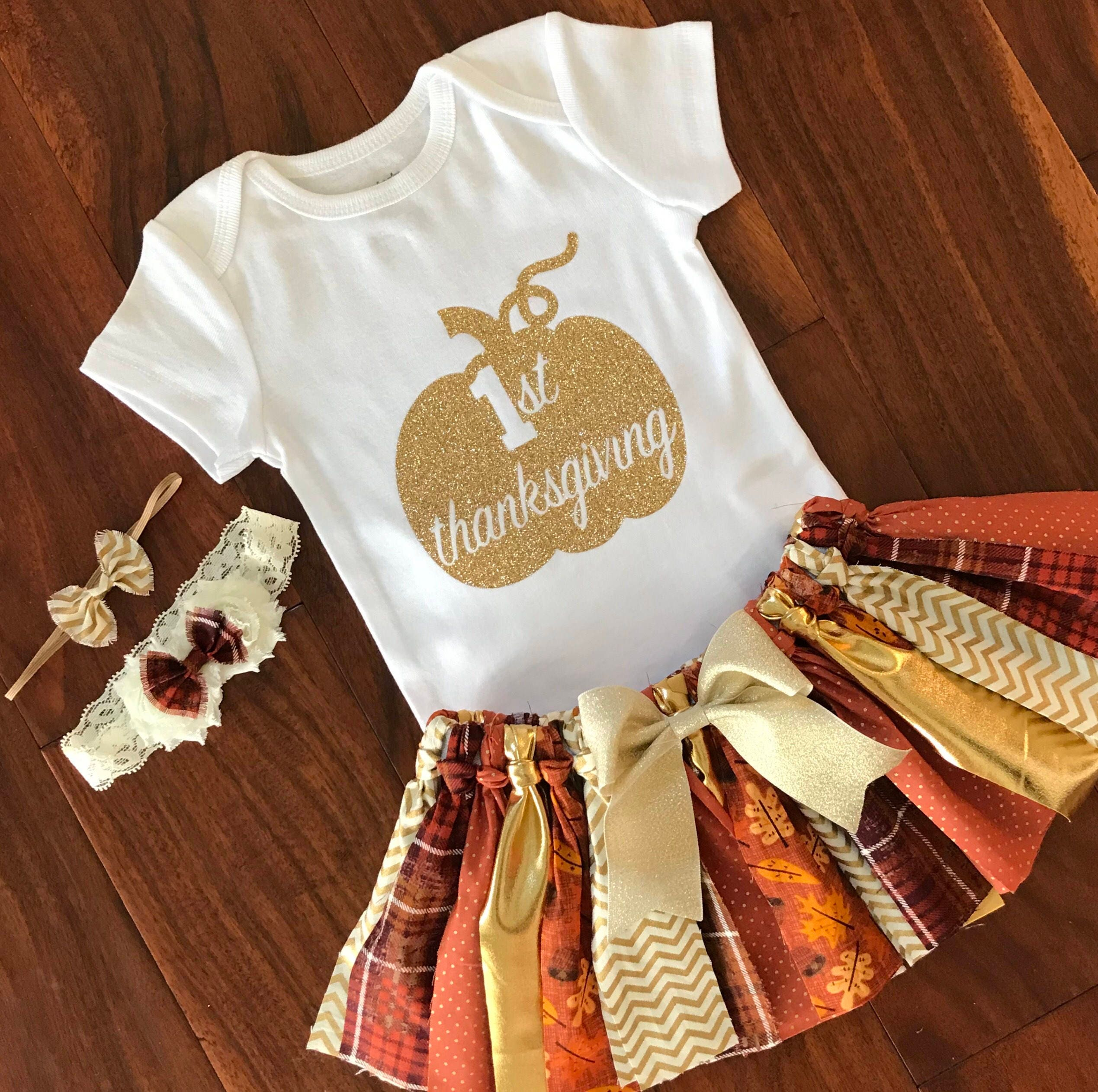 76c203f36 1st Thanksgiving Outfit Gold Glitter Onesie Fall baby girl | Etsy