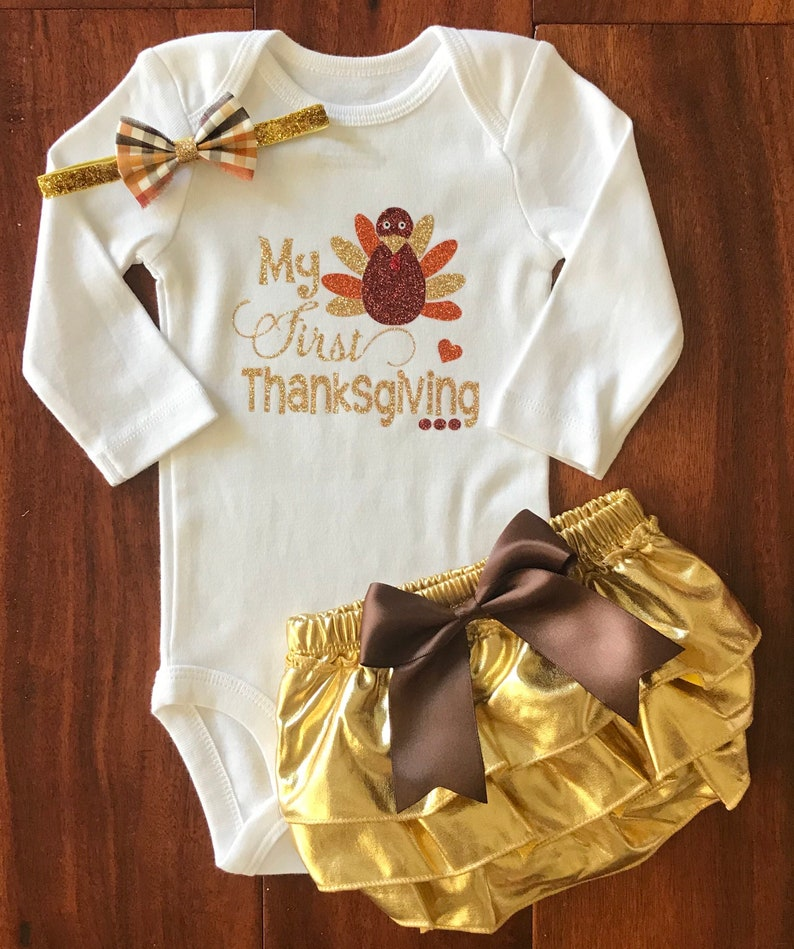 Baby Girl Thanksgiving Outfit Newborn Thanksgiving Outfit My 1st Thanksgiving Outfit First Thanksgiving Baby Girl First Turkey Day
