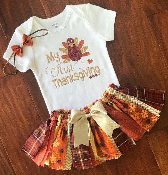 My First Thanksgiving Fall Baby Outfit Baby Girl Etsy