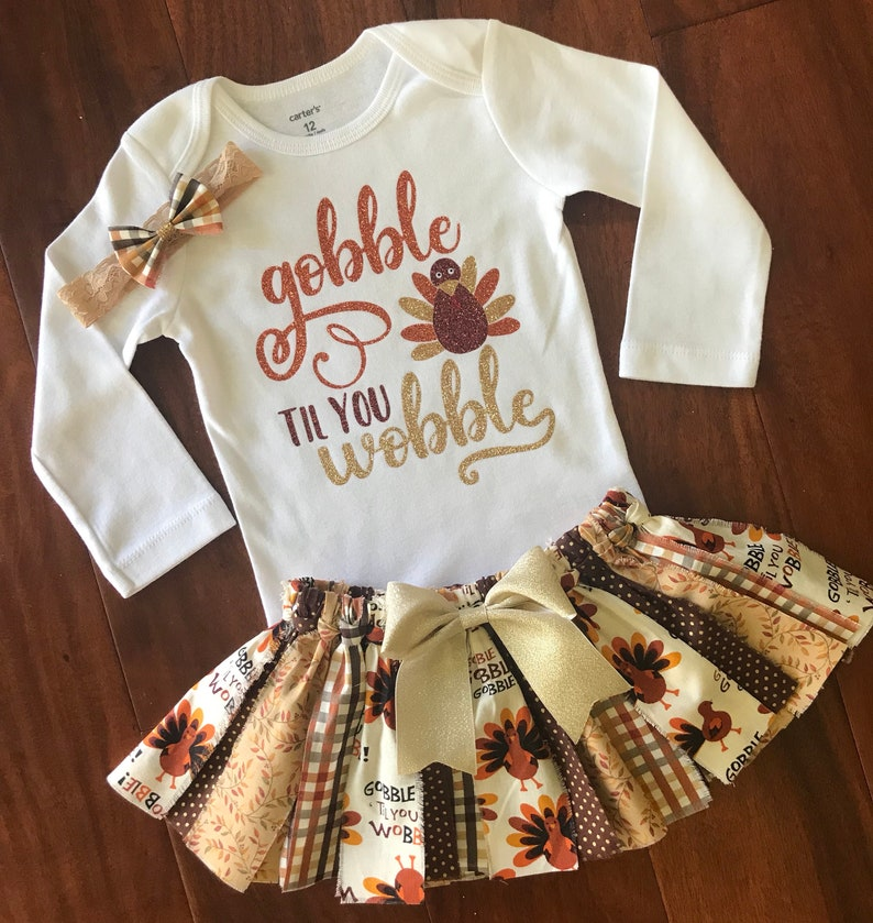 6709e66e9 Gobble til you wobble Fall baby outfit 1st Thanksgiving Outfit | Etsy