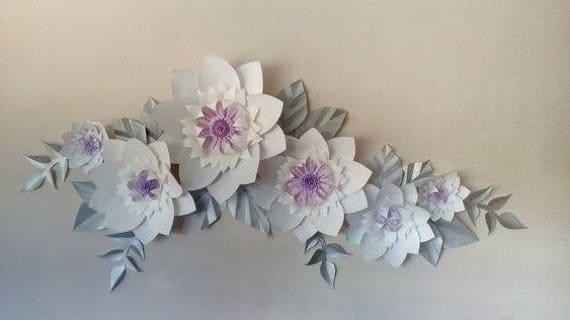 large white paper flowers wall decor wedding decor   Etsy