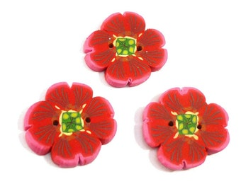 Poppy Flower Buttons handmade 2cm crochet knitting sewing embroidery, Set of 3 anemones in Polymer clay