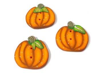 Pumpkin handmade Halloween Buttons for crochet knitting sewing embroidery in Polymer clay