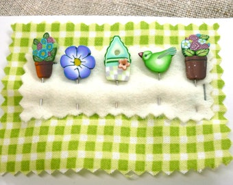 Clay sewing Pins for Pincushion Bird Birdhouse Flowers Handmade Decorative Pins