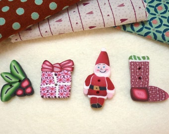 Christmas buttons Holiday for crochet for knitting handmade 1 inch Stocking stuffer. for card sewing embroidery