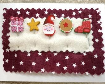 Christmas Pins for Pincushion Santa Claus stocking stuffer for woman