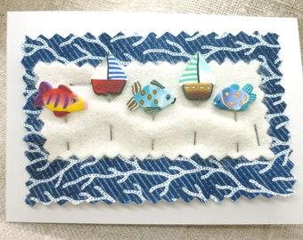 Nautical sewing Pins for Pincushion handmade Sailboat Fish Decorative pins polymer clay