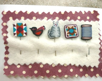 Southwestern Quilting Pins for Pincushion, Cat Decorative Pins, Embellishment Santa Fe style