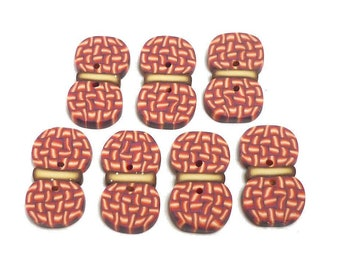 Buttons for crochet knitting sewing Girls or Boys 2cm Set of 7 Ball of yarn skein Red