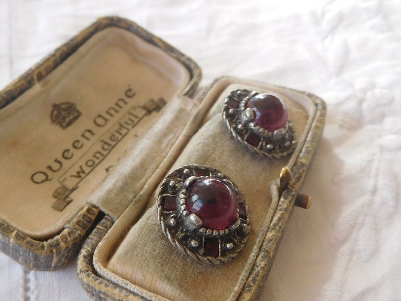 Lovely  Decorative Vintage 1960s Purple Glass Cabochon Earrings signed MIRACLE